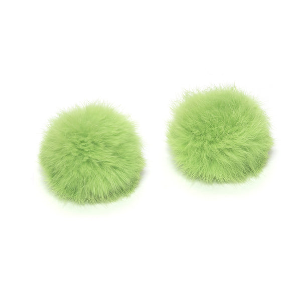 Pom Pom Shoe Clips - Rabbit Fur Lime Green