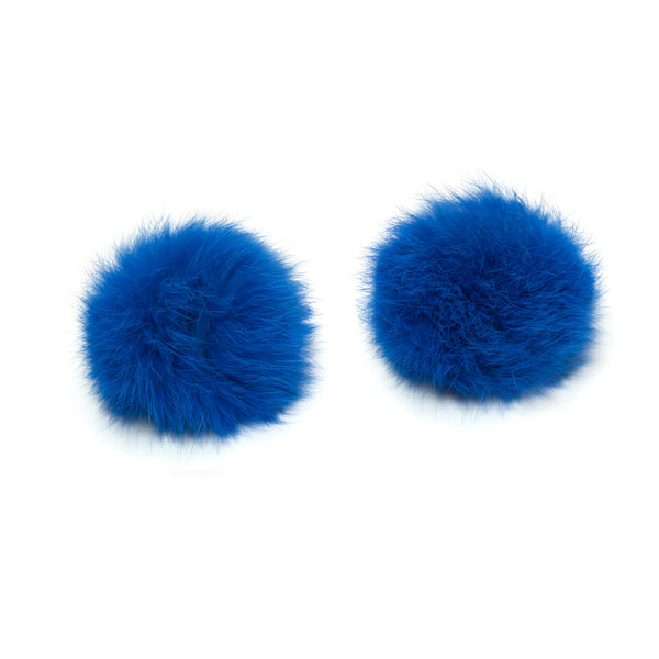 Pom Pom Shoe Clips - Rabbit Fur Indigo