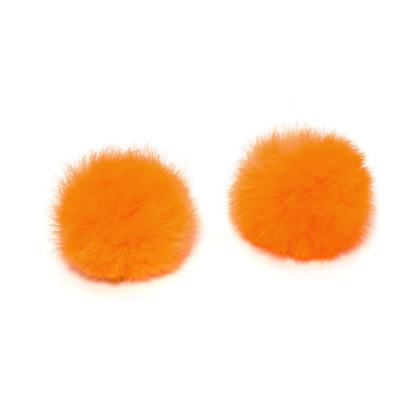 Pom Pom Shoe Clips - Rabbit Fur Orange