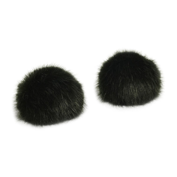 Pom Pom Shoe Clips - Faux Fur Green
