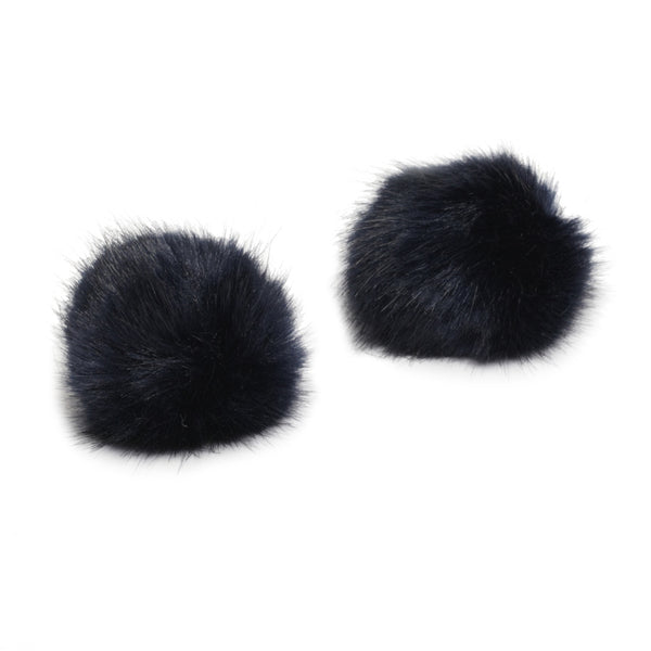 Pom Pom Shoe Clips - Faux Fur Navy