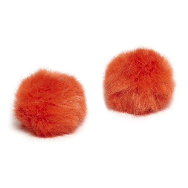 Pom Pom Shoe Clips - Faux Fur Orange