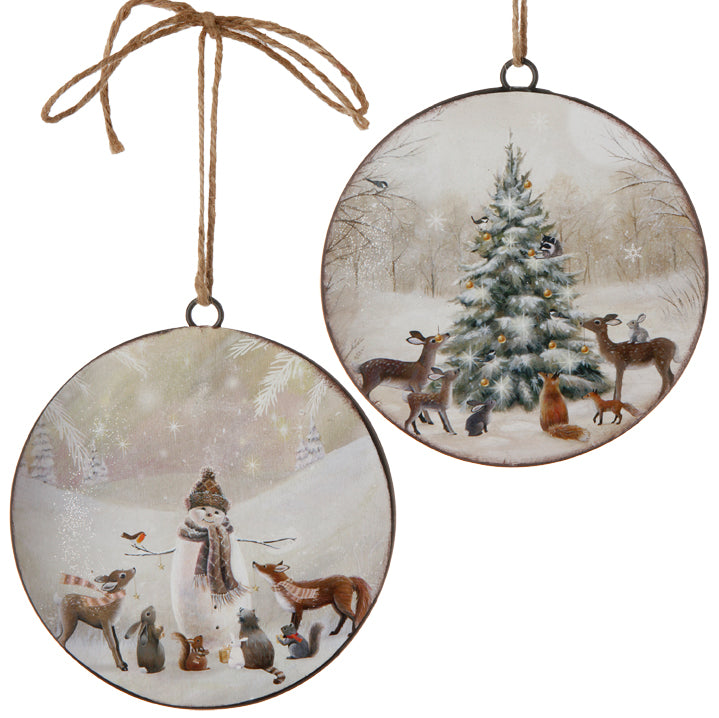 Snowman and Tree Disc Ornament 6""