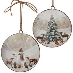 Snowman and Tree Disc Ornament 6