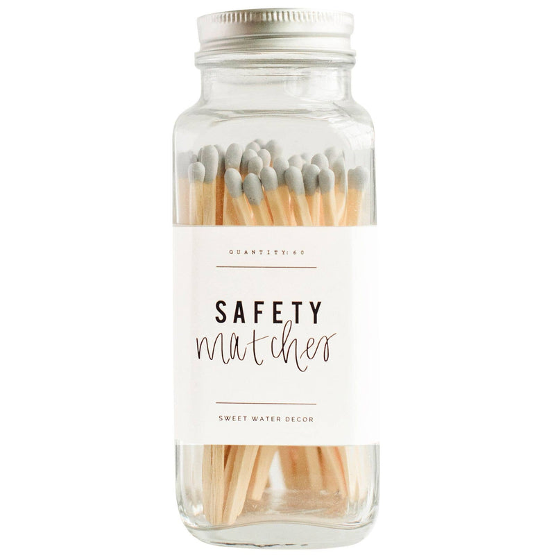 Grey Safety Matches - Glass Jar