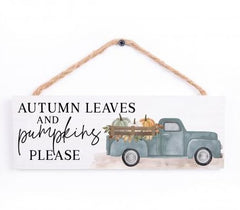 Autumn Leaves and Pumpkins Please String Sign