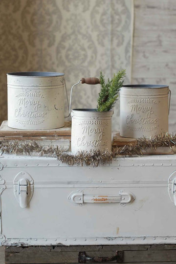 Merry Christmas Pail | Set/3 | Cream