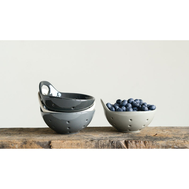 "Stoneware Berry Basket, Reactive Glaze, Blue/Brown (Each One Will Vary), 4"" Square x 3""H"