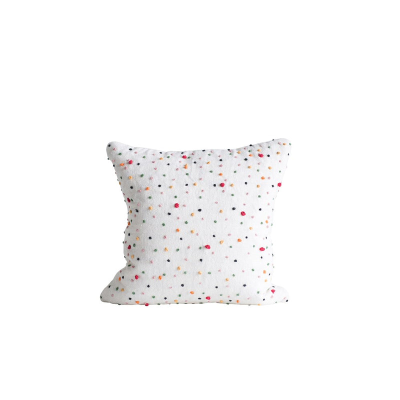 Square Cotton Pillow w/ French Knots, Multi-Color