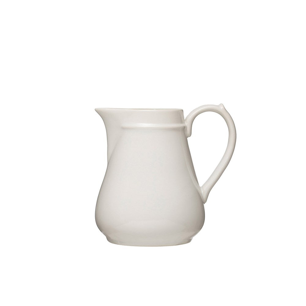 Vintage Reproduction Stoneware Pitcher, White