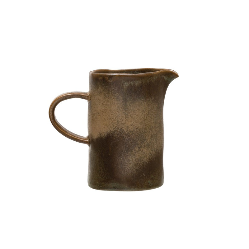 "Stoneware Creamer, Reactive Glaze, Blue/Brown (Each Varies), 4-3/4""H, 12oz,"