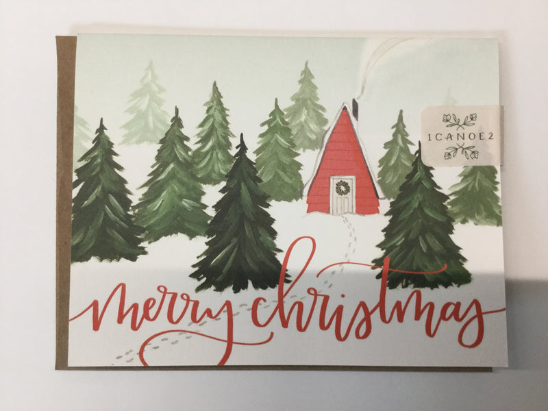 Merry Christmas Cabin | Greeting Card