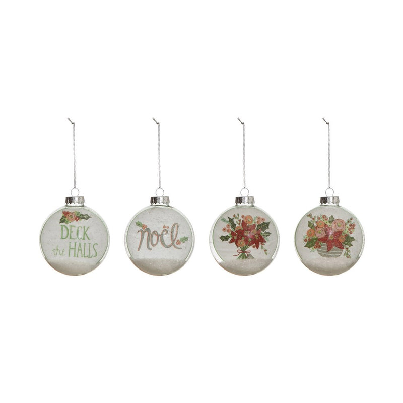Glass Ball Ornament w/ Holiday Image & Faux Snow,