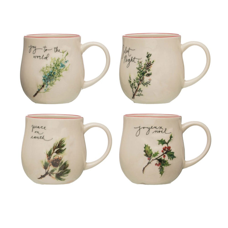 "Stoneware Mug w/ Holiday Sprig & Saying, 4 Styles, 4"" Round x 5""H 16 oz."