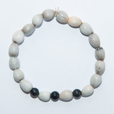 Blessing Bead Bracelet - Wooden Ball Gnarly Silver