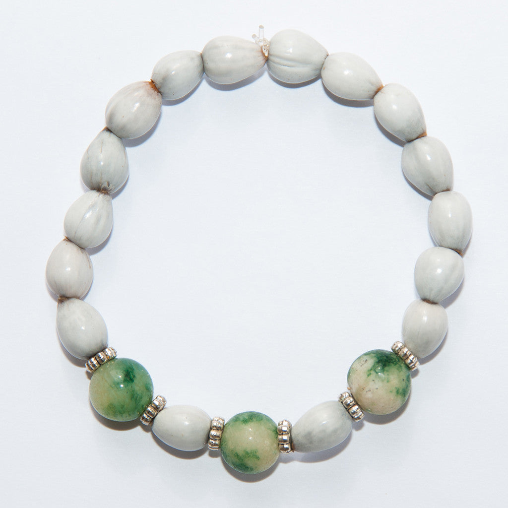 Blessing Bead Bracelet - Agate Green Varigated