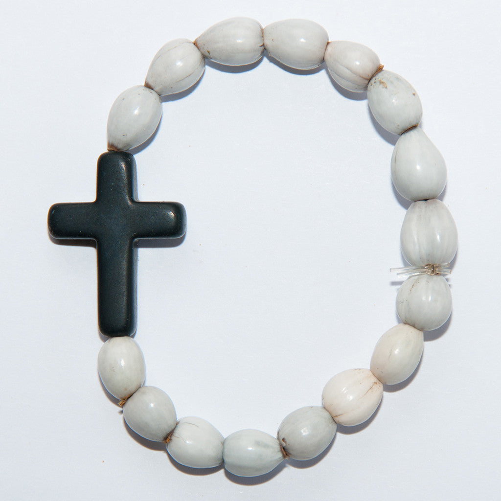 Blessing Bead Bracelet - Cross Black Large