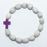 Blessing Bead Bracelet - Cross Purple