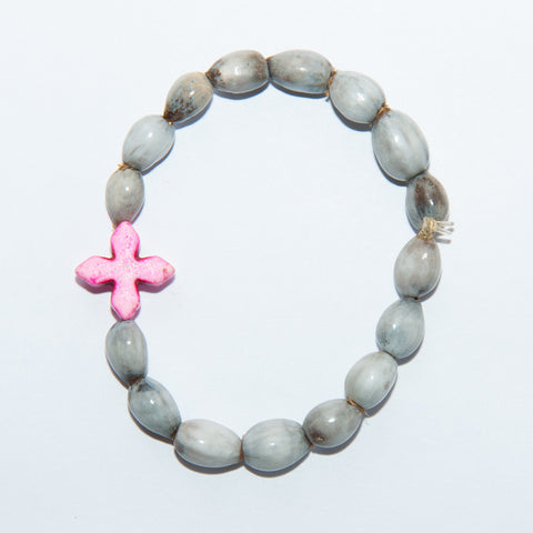 Blessing Bead Bracelet - Cross Square Coral
