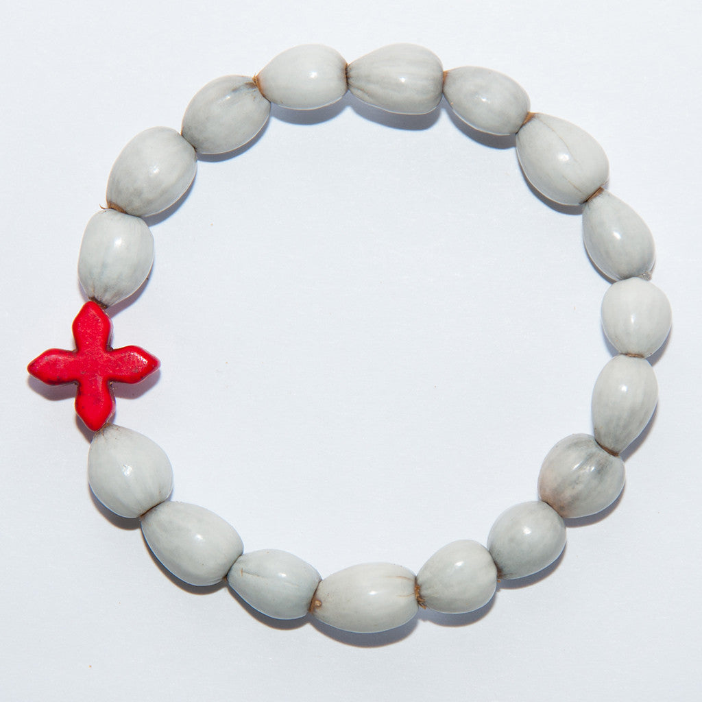 Blessing Bead Bracelet - Cross Square Red