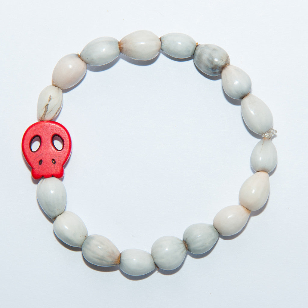 Blessing Bead Bracelet - Skull Red