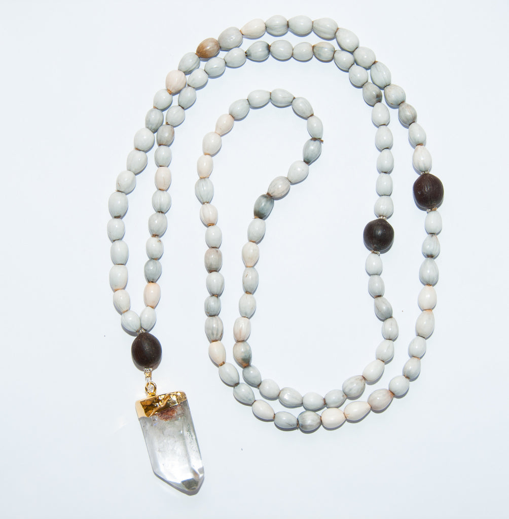 Blessing Bead Necklace - Agate Clear