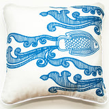 Batik Fish Cream Throw Pillow