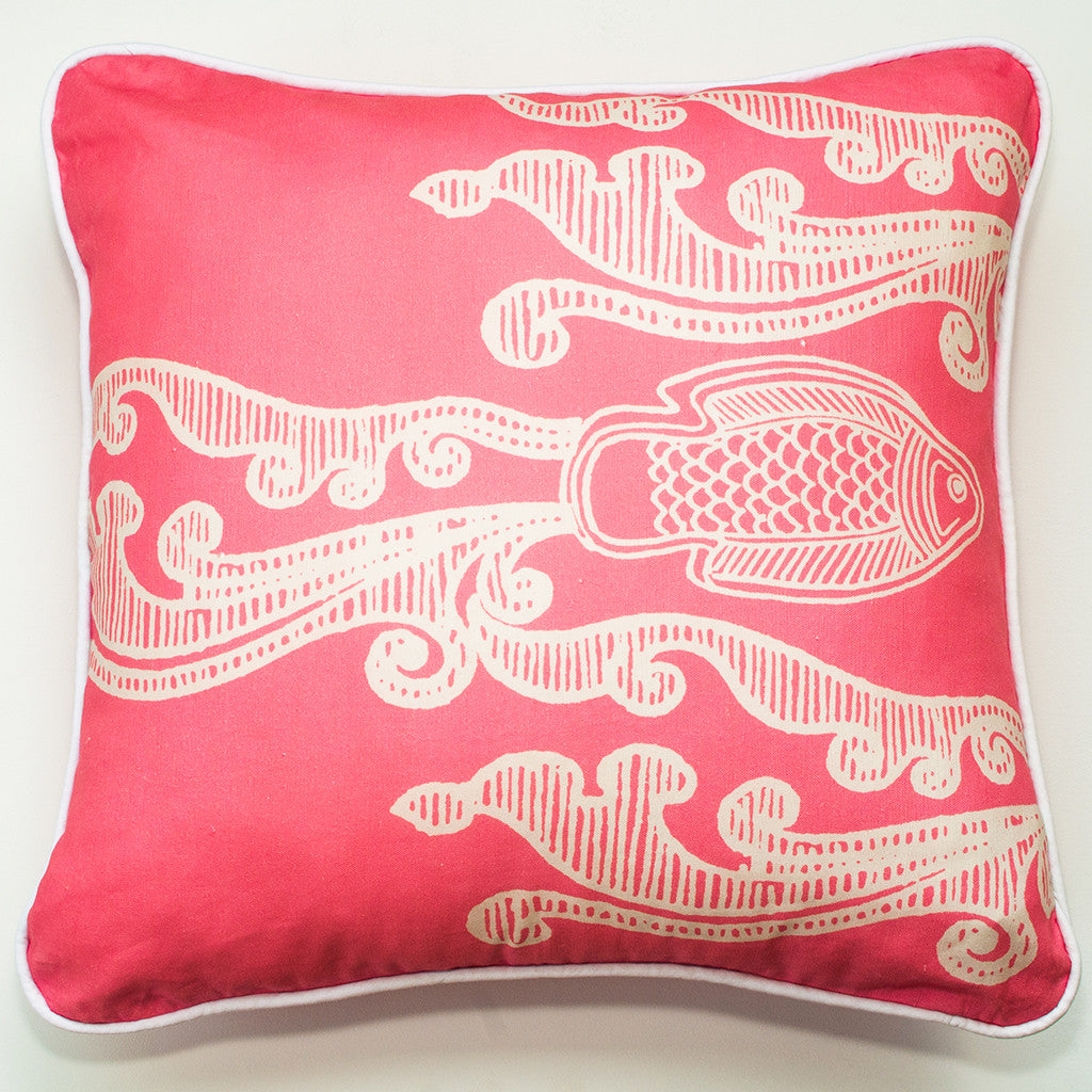Batik Fish Coral Throw Pillow