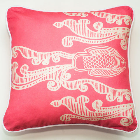 Batik Fish Indigo Throw Pillow