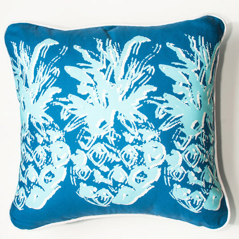 Blue Pineapple Throw Pillow