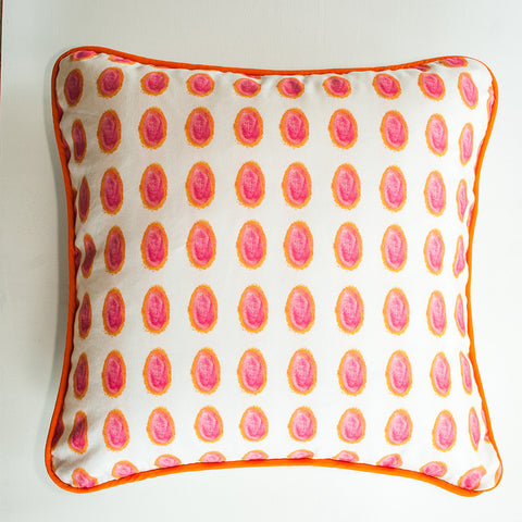 Neo-Color Dots Coral Throw Pillow