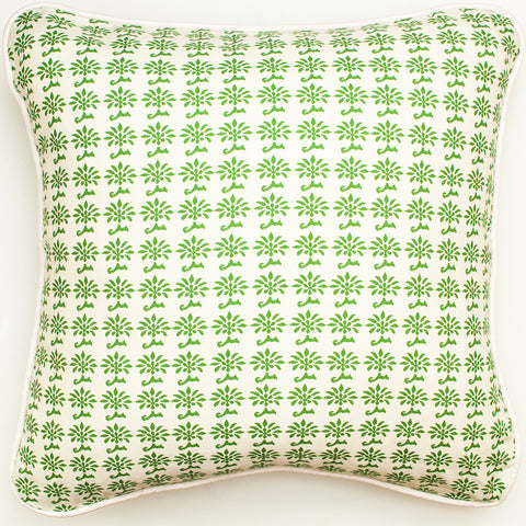 Indian Block Print Green Throw Pillow