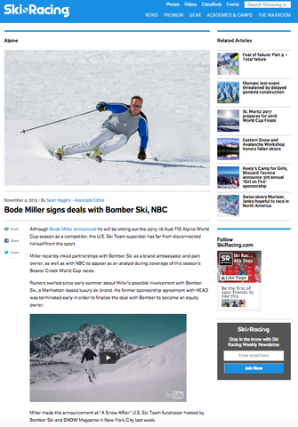 Bode Miller Signs Deal with Bomber Ski
