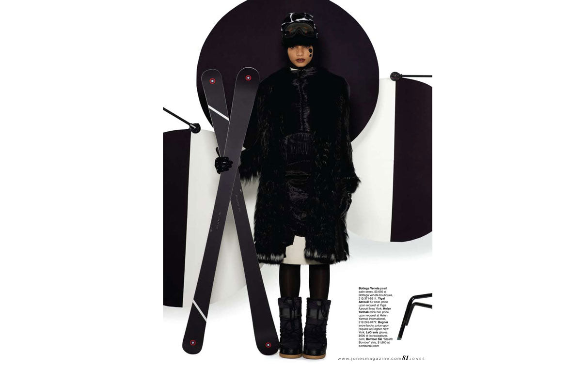 Bomber Stealth Alpine All Mountain Ski and Helen Yarmak fur in Jones Magazine 2013