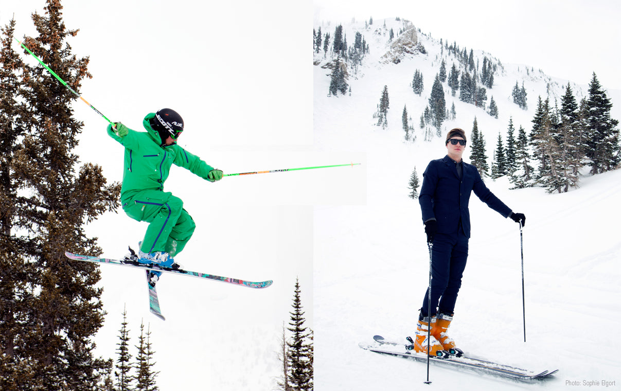 bomber ski snowbird photo shoot with photographer sophie elgort featuring bomber b-52 90mm powder ski