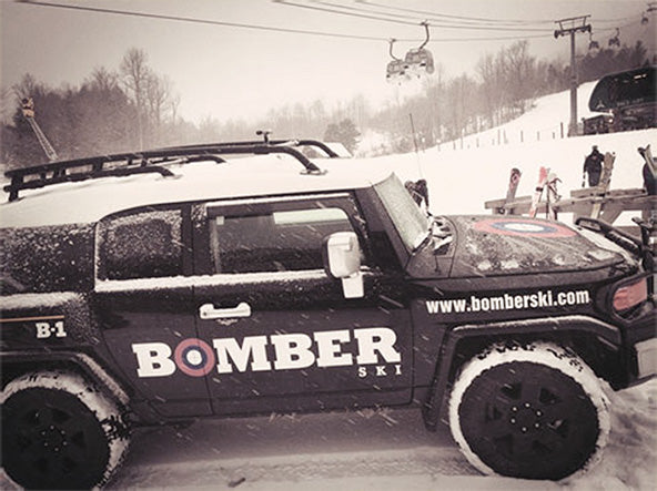 bomber ski car at the world cup ski championship in lake placid new york