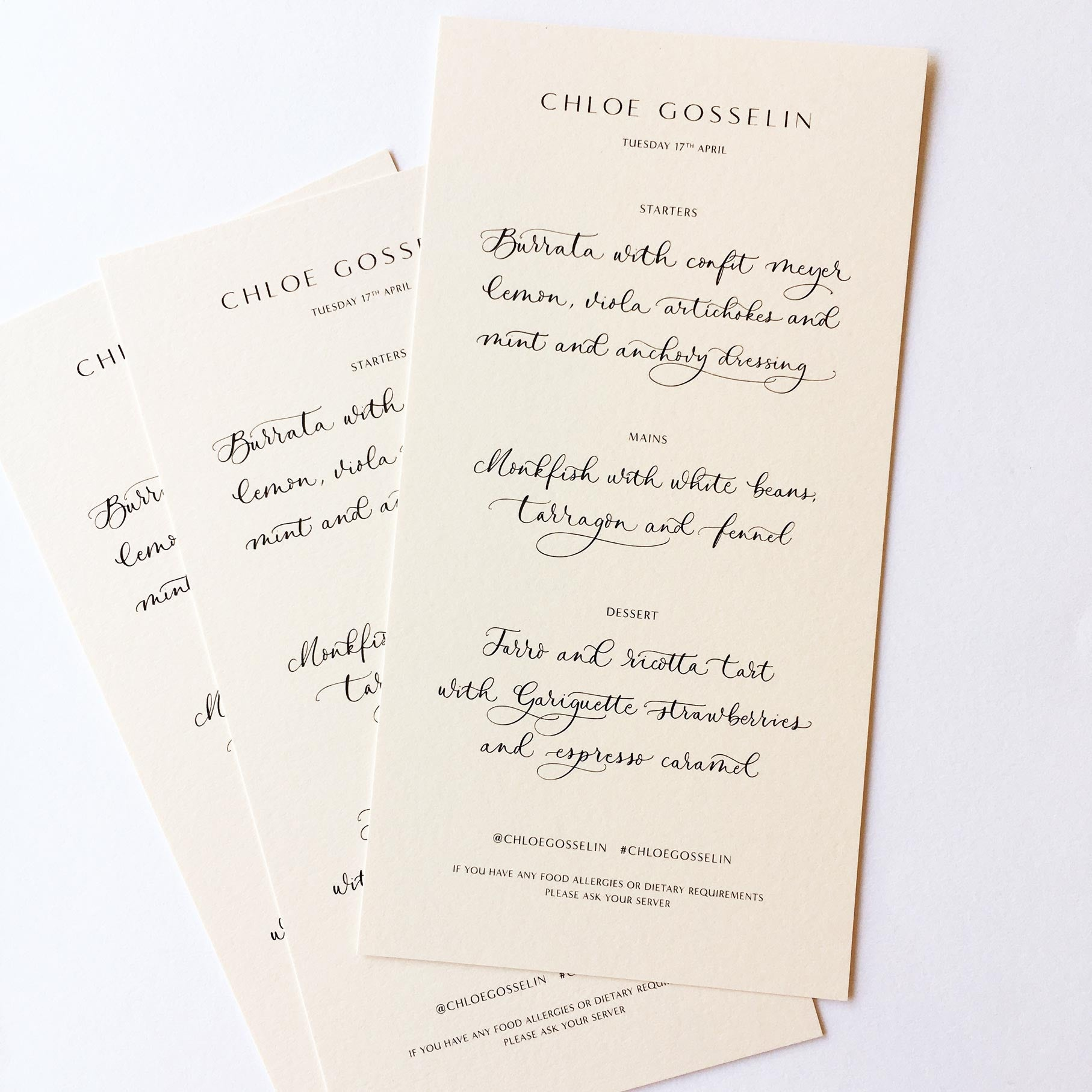 Quill London | Inspiration From Our Studio | Menu // Chloe Gosselin