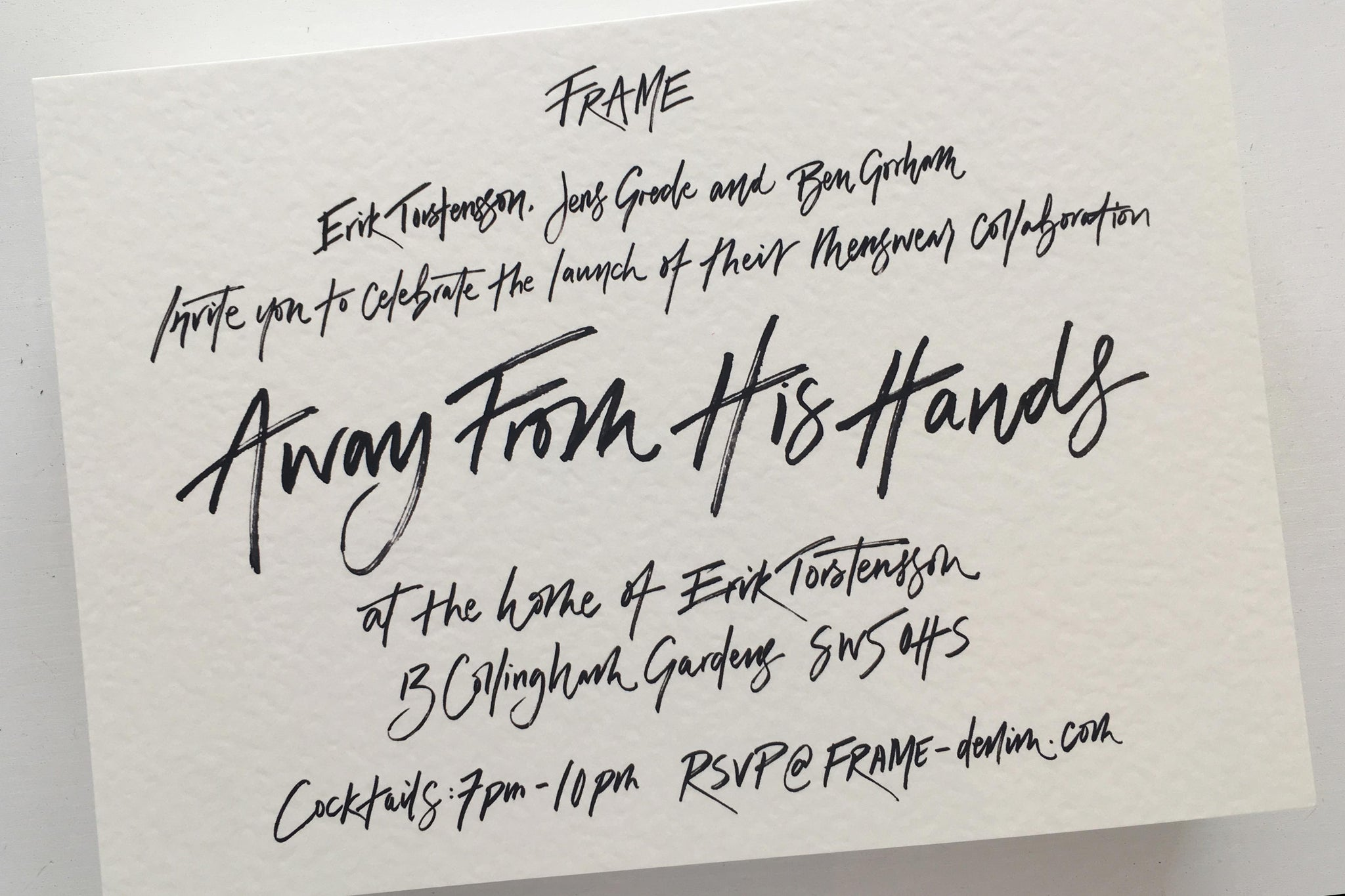 Quill London | Inspiration From Our Studio | Invitation lettering and design // FRAME Denim
