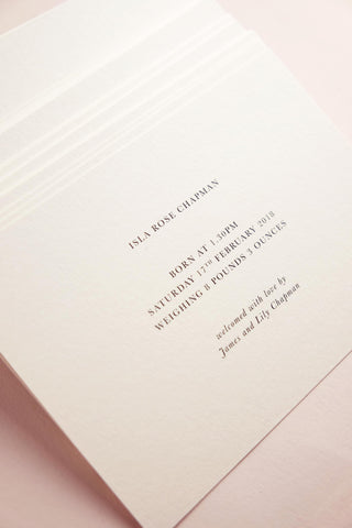 Quill London Personalised Stationery New Baby Cards