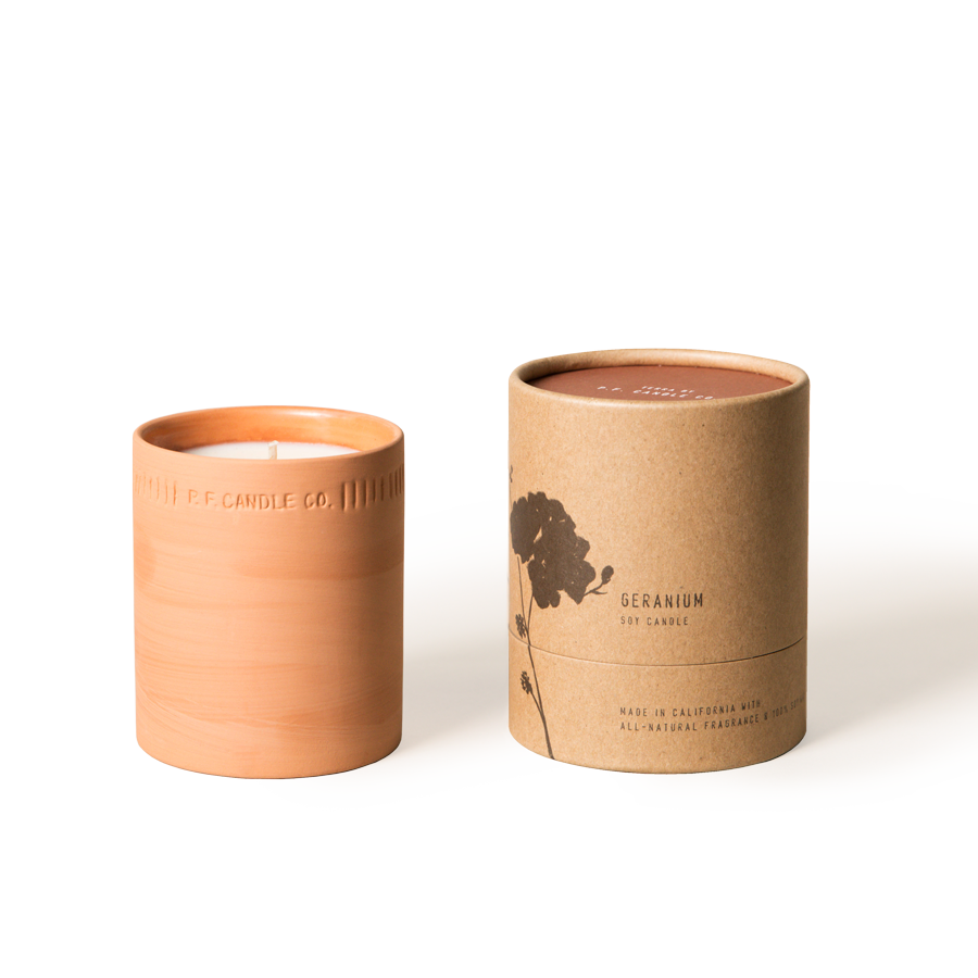P.F. Candle Co. - Geranium - All-Natural 8 oz Terra Soy Candle