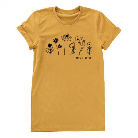 Nature Supply Co - Bees + These Adult Tee - Mustard