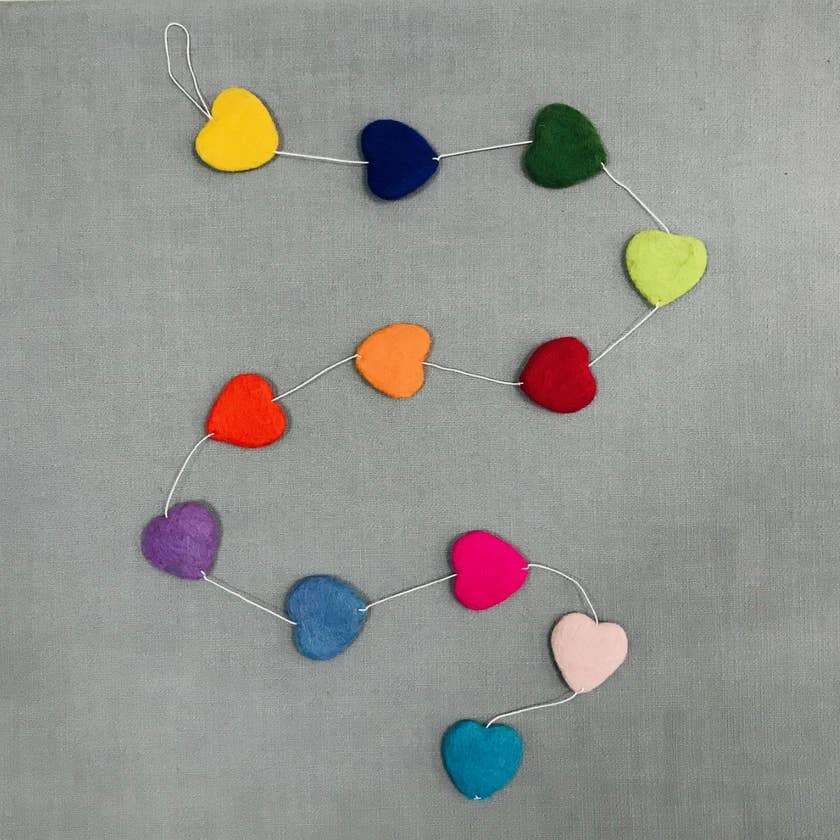 The Winding Road - Garland - Multi-color Hearts