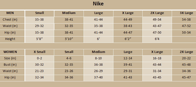 Nike size chart athletics canada