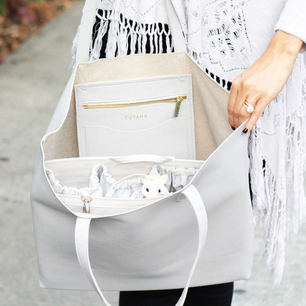 Cuyana's Classic Leather Tote as a Diaper Bag