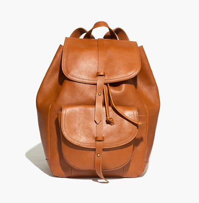 madewell backpack, leather backpack, drawstring backpack