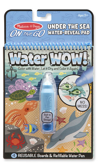 water wow, melissa and doug, toys for travel, toys for kids, toys for an airplane, totesavvy, diaper bag organizer, handbag organizer