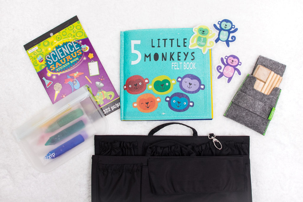 toys for on the go, toys for traveling, sticker books, michaels sticker books, $1 sticker books, totesavvy, diaper bag organizer, purse organizer