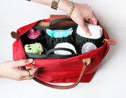 totesavvy diaper bag organizer in black inside red tote