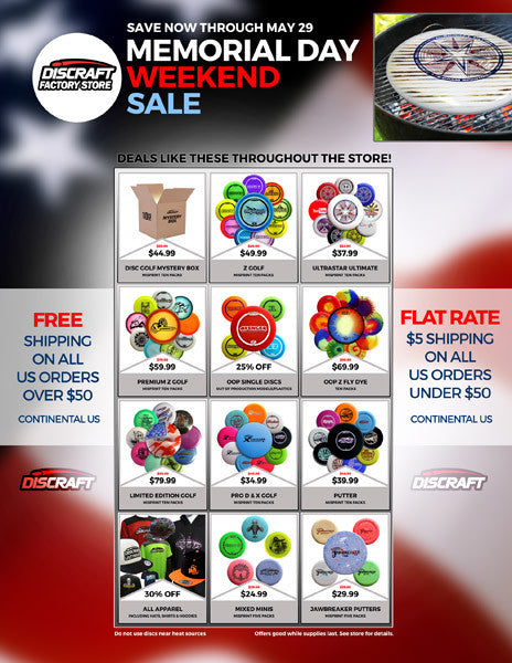 Discraft Factory Store Memorial Day Weekend Sale