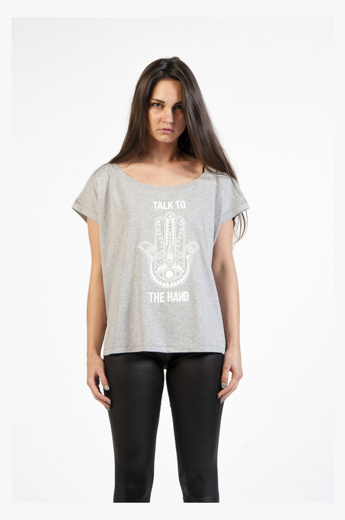 Heather Grey Slogan Cropped Tee